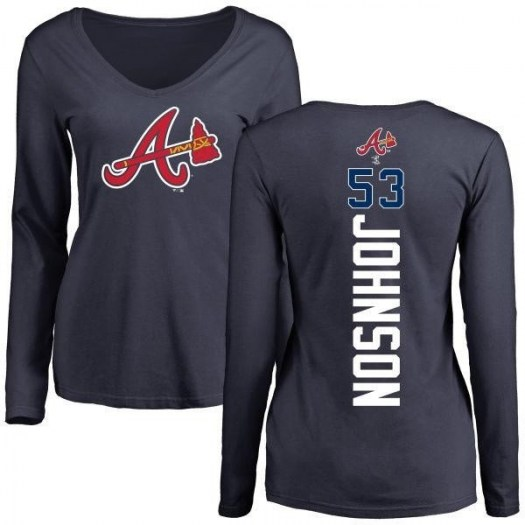 Jim Johnson Atlanta Braves Women's Navy Backer Slim Fit Long Sleeve T-Shirt -